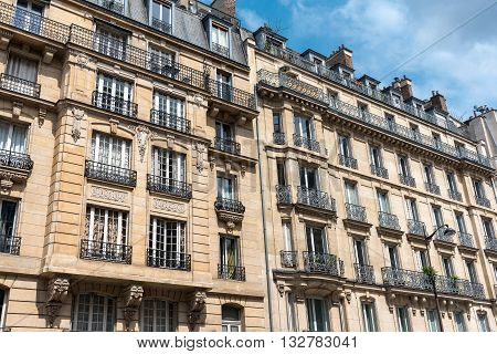 Facades of some traditional buildings in downtown Paris, France