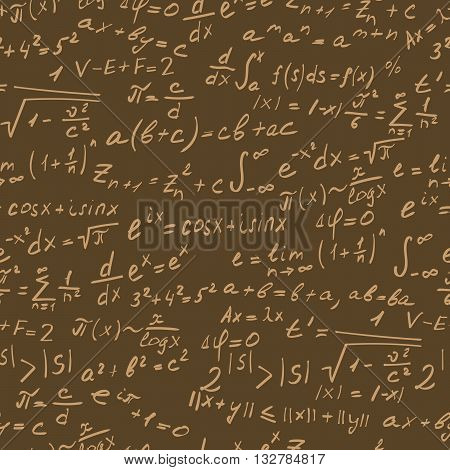 Seamless background on the topic of mathematical theorems symbols and formulas light contour on a brown background