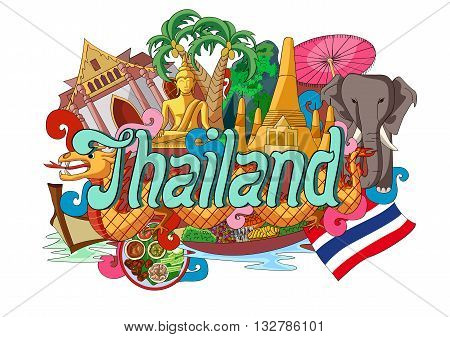 vector illustration of Doodle showing Architecture and Culture of Thailand