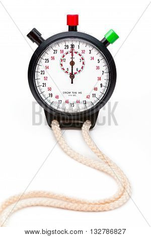 stopwatch and rope isolated on a white background