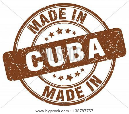 made in Cuba brown round vintage stamp.Cuba stamp.Cuba seal.Cuba tag.Cuba.Cuba sign.Cuba.Cuba label.stamp.made.in.made in.