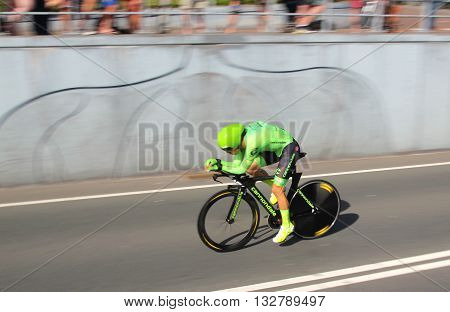 APELDOORN, NETHERLANDS-MAY 6 2016: Rigoberto Uran of pro cycling team Cannondale Pro Cycling during the Giro d'Italia prologue time trial.