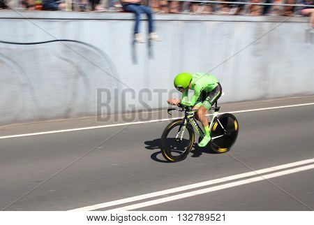 APELDOORN, NETHERLANDS-MAY 6 2016: Nathan Brown of pro cycling team Cannondale Pro Cycling during the Giro d'Italia prologue time trial.