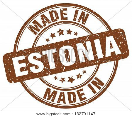 made in Estonia brown round vintage stamp.Estonia stamp.Estonia seal.Estonia tag.Estonia.Estonia sign.Estonia.Estonia label.stamp.made.in.made in.