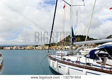 Europe Greece island of Zakynthos. View of the city of Zakintos from yacht club.