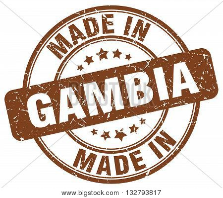 made in Gambia brown round vintage stamp.Gambia stamp.Gambia seal.Gambia tag.Gambia.Gambia sign.Gambia.Gambia label.stamp.made.in.made in.