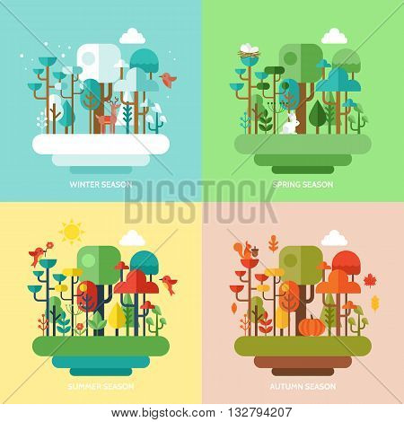 Four seasons concept with nature forest trees and animals. Vector illustration