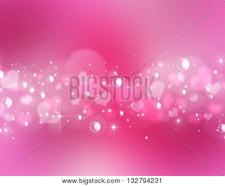 Defocused bokeh lights shiny background with blinks and stars. Fairy tales star dust effect. Blurred hearts pink wonderful backdrop. Valentine Day blurred lights pink bokeh concept with space for text