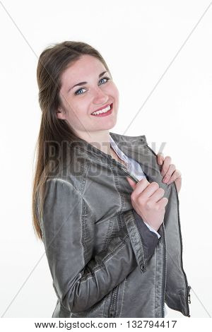 Smiling Brunette Woman In Stylish Leather Jacket