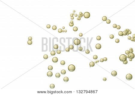 Golden fizz bubbles isolated over a white background