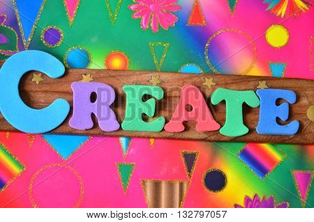 word create on a abstract colorful background