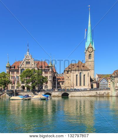 Zurich City Hall and Fraumunster Cathedral buildings in the city of Zurich, Switzerland.