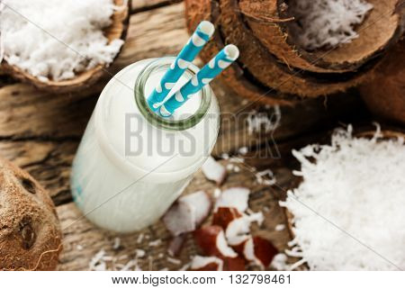 Coconut milk shake in a bottle selective focus
