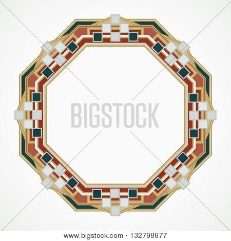 handmaded octahedron frame from mosaic. Vector illustration