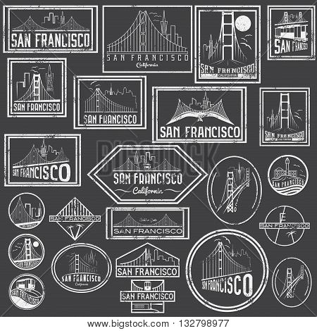 Set Grunge Badges With San Francisco Skyline. Vector