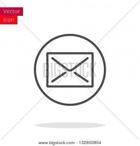 Mail Thin Line Icon. Mail Icon in circle. Vector Mail Icon. Round Mail Icon. Mail Icon On white background. Mail Icon Illustration.
