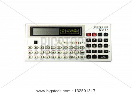 old Russian programmable calculator ( microcomputer ) isolated on a white background.