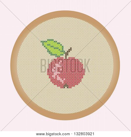Embroidery red apple. Vector illustration: the apple which is creed stitched in a round frame