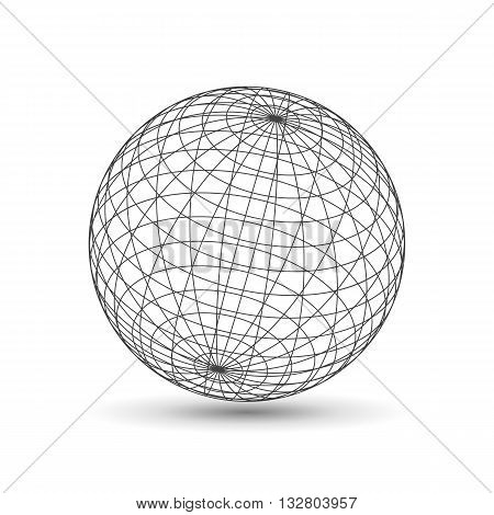 Wireframe globe icon, 3d version design template vector