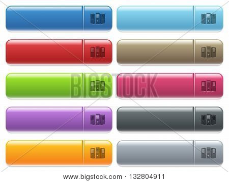 Set of server hosting glossy color menu buttons with engraved icons