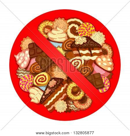 Huge pile of various sweets inside red prohibitory sign, on white background. Prohibition of sweets at diet time concept