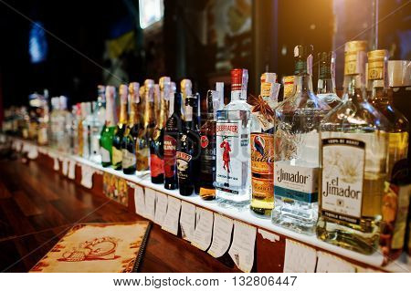 Kyiv, Ukraine - March 25, 2016: Various Alcoholic Beverages Bottles In The Bar. Beefeater London Dry