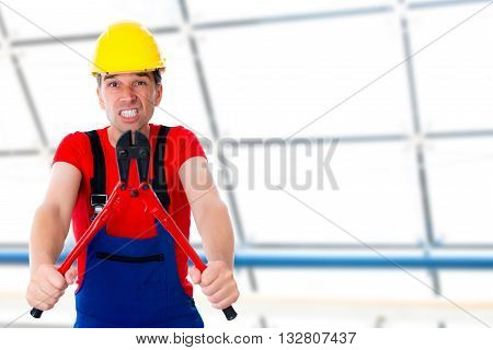 Funny Worker With Bolt-clipper