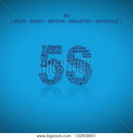 Five S typography background. Blue background with main title 5S filled by other words related with total quality management method. Heading title in Japanese language (original words). Vector illustration