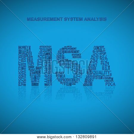 Measurement system analysis typography background. Blue background with main title MSA filled by other words related with measurement system analysis method. Vector illustration poster