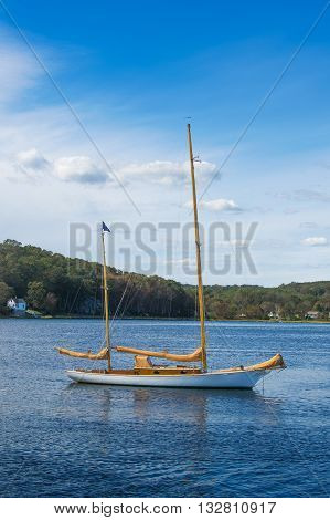 Classic Wooden Ketch moored on the Mystic River