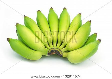 Pisang Awak banana Kluai Nam Wa Cultivate banana on isolate white background. green asian banana isolated background.