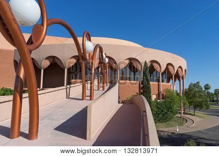 Tempe,AZ,  Jun 1st,2016.  Grady Gammage Memorial Auditorium theatre is considered to be the last public commission of architect Frank Lloyd Wright.