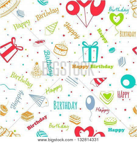 Happy birthday. Greeting pattern on a blank background. Vector illustration