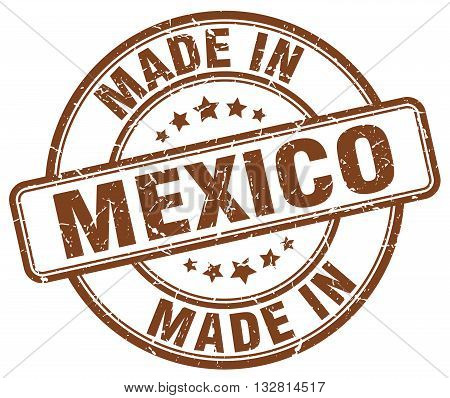 made in Mexico brown round vintage stamp.Mexico stamp.Mexico seal.Mexico tag.Mexico.Mexico sign.Mexico.Mexico label.stamp.made.in.made in.