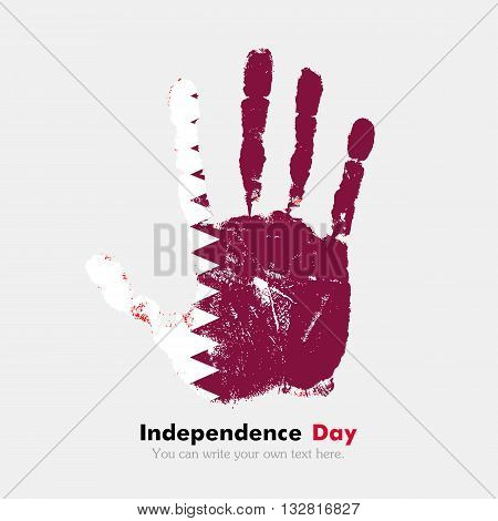 Hand print, which bears the Flag of Qatar. Independence Day. Grunge style. Grungy hand print with the flag. Hand print and five fingers. Used as an icon, card, greeting, printed materials.