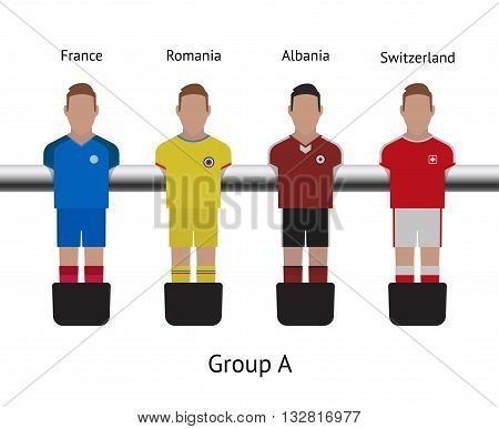 Table football game, Soccer table with players Football players kit. Soccer teams. France, Romania, Albania, Switzerland