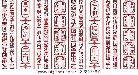 Ancient Egyptian hieroglyphic writing decorative background set.