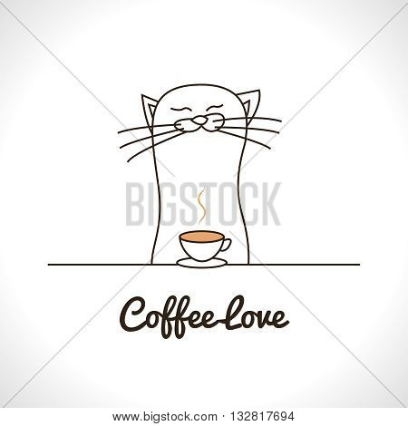 Cute cat sniffing coffee cup. Adorable animal vector illustration