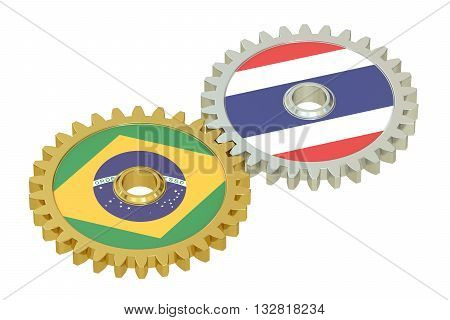Brazil and Thailand flags on a gears 3D rendering isolated on white background