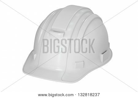 Construction White Hard Hat 3D rendering isolated on white background