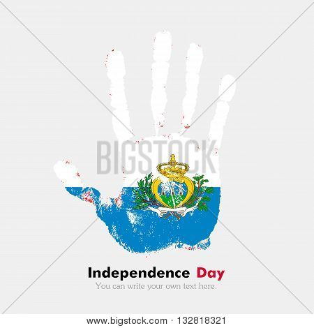 Hand print, which bears the Flag of San Marino. Independence Day. Grunge style. Grungy hand print with the flag. Hand print and five fingers. Used as an icon, card, greeting, printed materials.