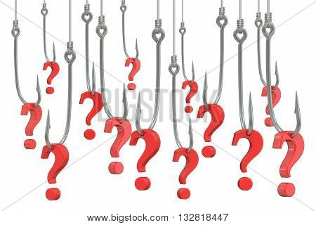fishing hook with question marks 3D rendering isolated on white background