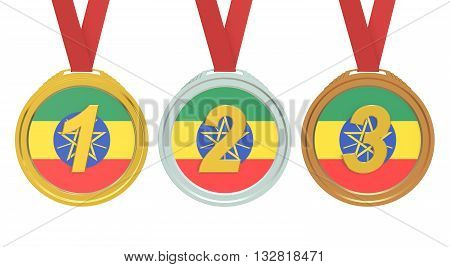 Gold Silver and Bronze medals with Ethiopia flag 3D rendering
