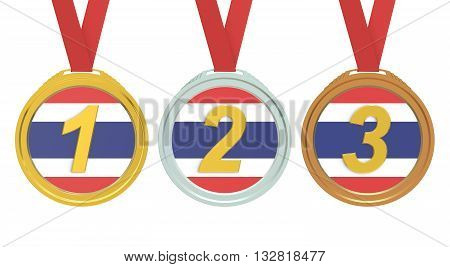 Gold Silver and Bronze medals with Thailand flag 3D rendering