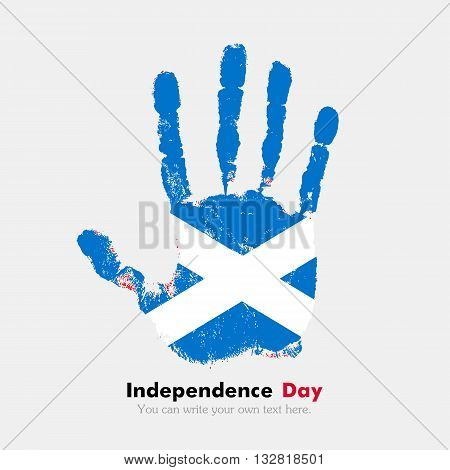 Hand print, which bears the Flag of Scotland. Independence Day. Grunge style. Grungy hand print with the flag. Hand print and five fingers. Used as an icon, card, greeting, printed materials.