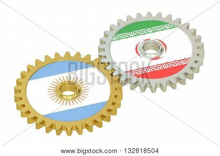 Iran and Argentina flags on a gears 3D rendering isolated on white background