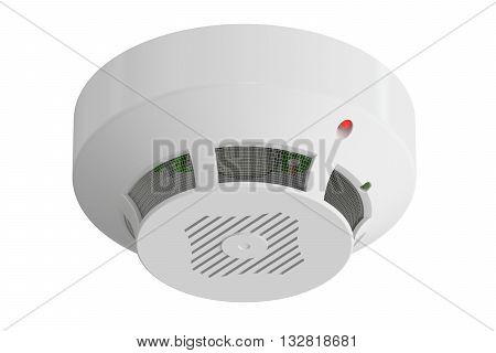 smoke detector 3D rendering isolated on white background