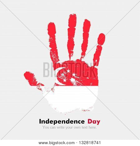Hand print, which bears the Flag of Singapore. Independence Day. Grunge style. Grungy hand print with the flag. Hand print and five fingers. Used as an icon, card, greeting, printed materials.