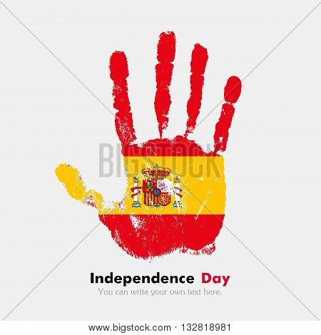 Hand print, which bears the Flag of Spain. Independence Day. Grunge style. Grungy hand print with the flag. Hand print and five fingers. Used as an icon, card, greeting, printed materials.