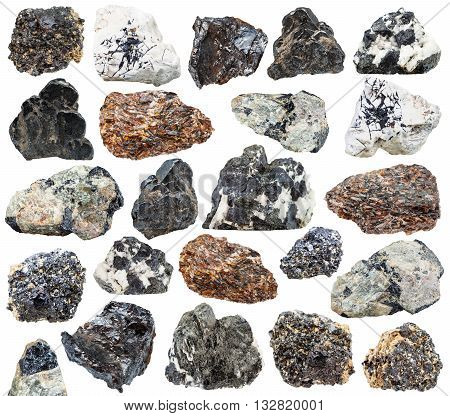 set of various natural mineral stones - titanium ore (knopite perovskite titanite sphene ilmenorutile rutile) isolated on white background